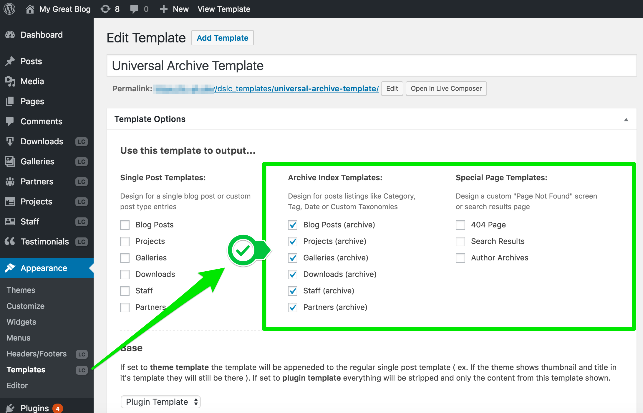 LC Update – Moved Settings to Templates • Live Composer